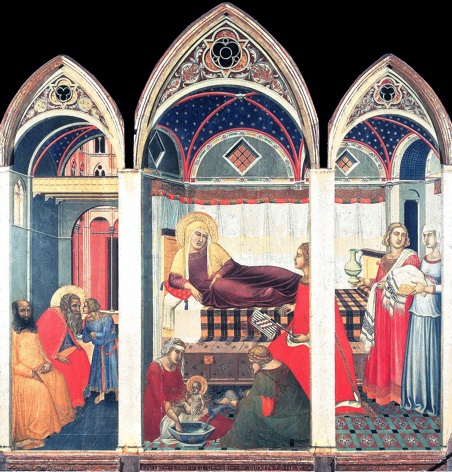 Pietro Lorenzetti - Birth of the Virgin 1c [1342] - Siena cathedral ...