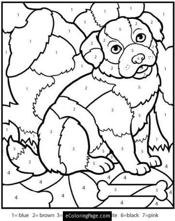 color by numbers dog coloring page for kids color by number