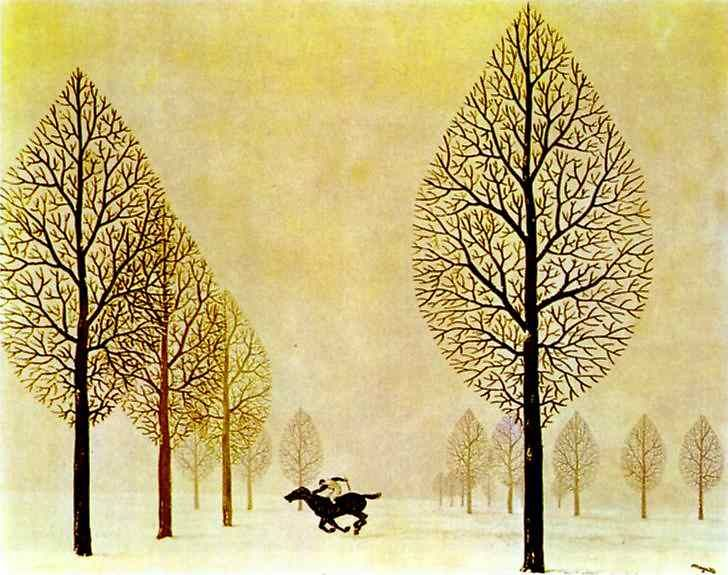 Artist: Rene Magritte  Completion Date: 1948  Place of Creation: Brussels, Belgium  Style: Surrealism  Period: Vache Period  Technique: gouache  Material: paper