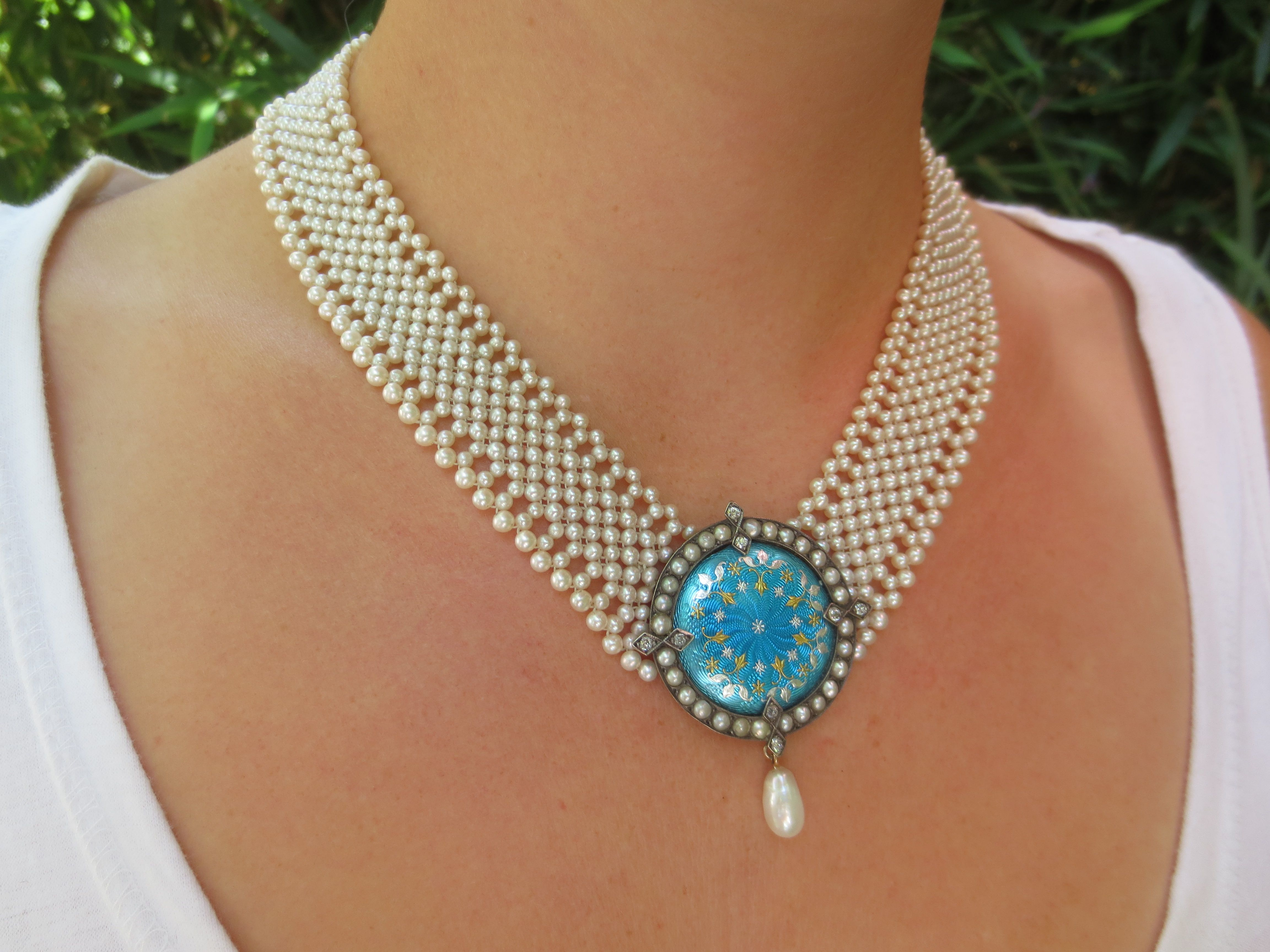one of a kind woven pearl necklace, by Marina J