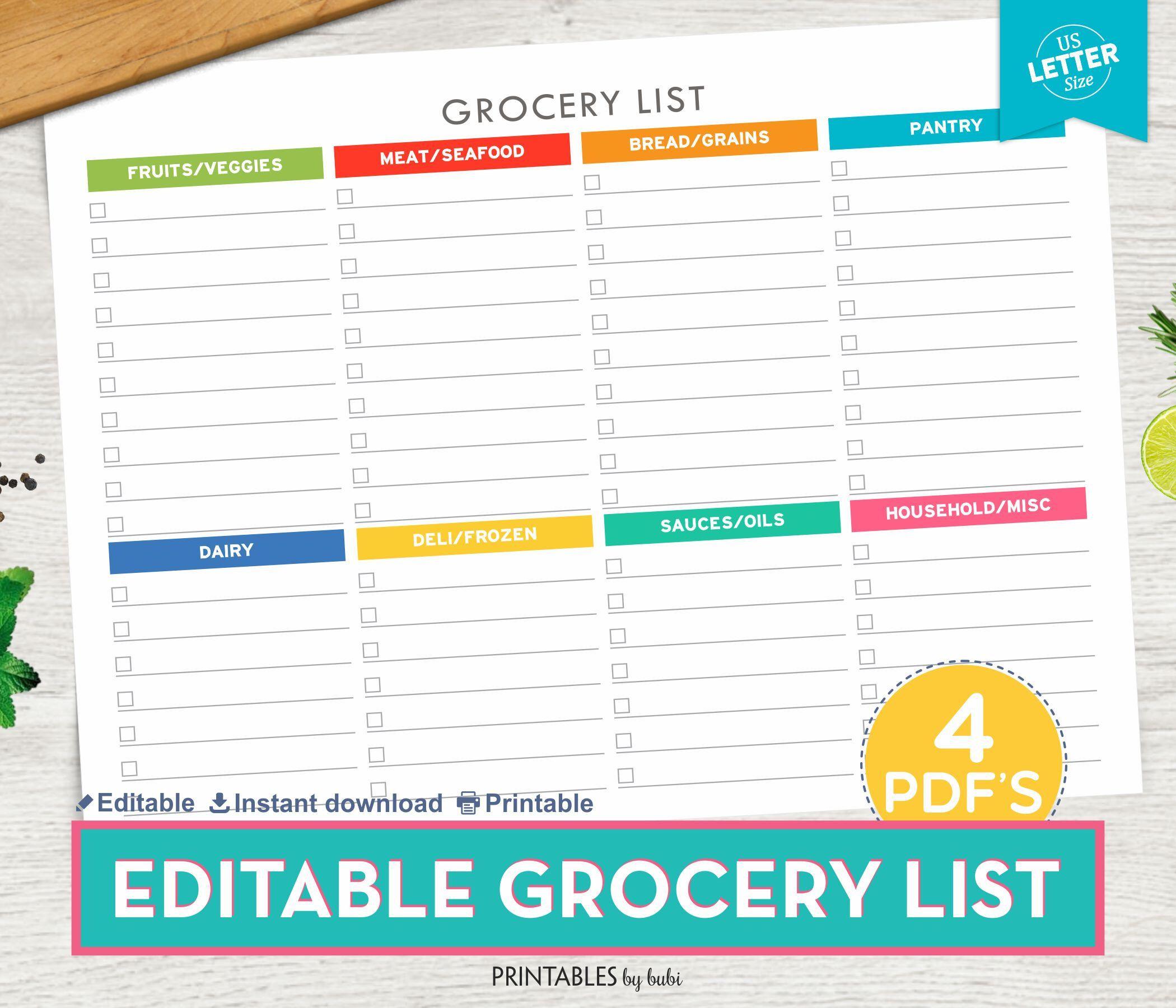 Grocery List Printable Shopping List Printable Grocery List