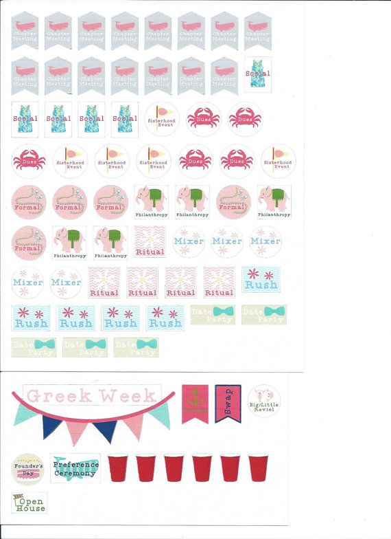 Check out Sorority Planner Stickers, College Planner Stickers - formal agenda format