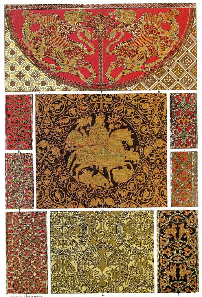 """Tessitura bizantina e ricamo """"articoli siciliane espositrici chiaramente l'influenza di ornamenti arabo, senza negare forme bizantine. In questi tessuti l'ornamento è sempre trattati come decorazione di superficie. Le piante e gli animali che vediamo applicato, non esattamente intima natura, ma sono più o meno idealizzato. """""""