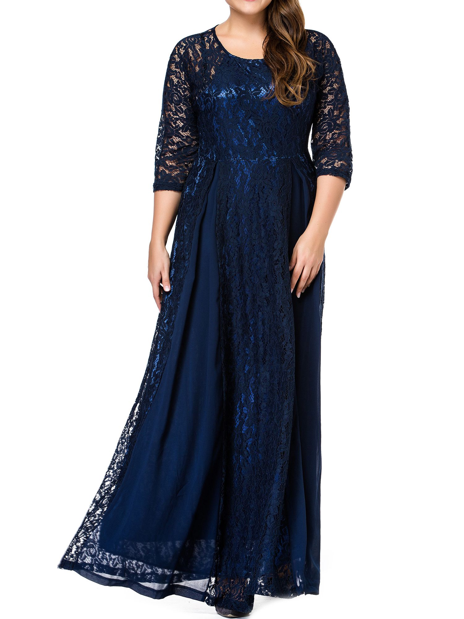 8e393cef4c33b ESPRLIA Women's Plus Size Floral Lace 3/4 Sleeve Wedding Maxi Dress ...