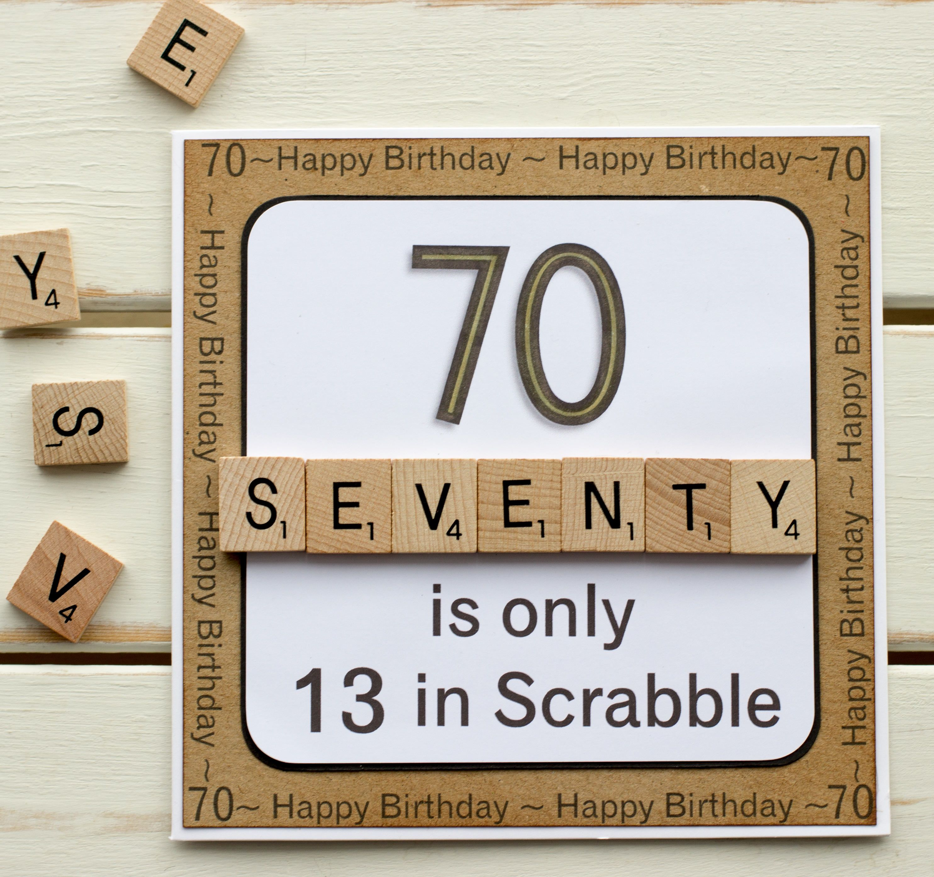 70 Is Only 13 In Scrabble Handmade 70th Birthday Card Etsy 70th Birthday Card 70th Birthday Birthday Cards For Men