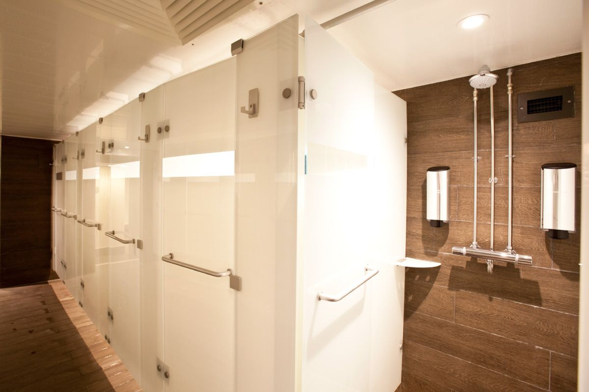 Locker room bathroom design - Virgin Active Shower Locker Room Refurbishments