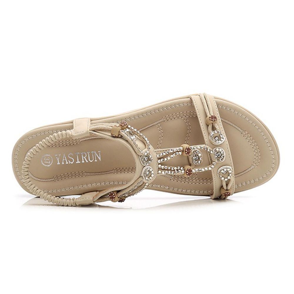 de25a0b56 Large Size Bohemian Elastic Band Casual Comfy Flat Sandals | Feet in ...