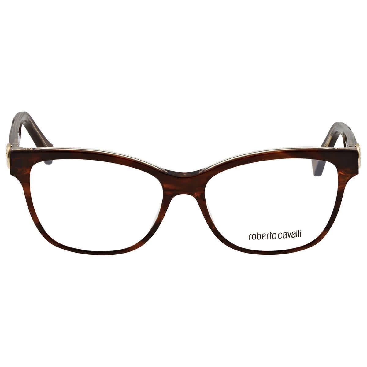 Roberto Cavalli Eyeglasses. Color: Demo Lens. Shape: Rectangular. Lens Width: 53 mm. Frame Material: Plastic. Frame Color: Brown. UPC/EAN code: 664689923977. Roberto Cavalli Ladies Eyeglass Frames RC5050A5653.