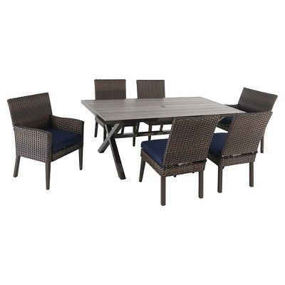 halsted 7 pc wicker patio dining set navy blue threshold