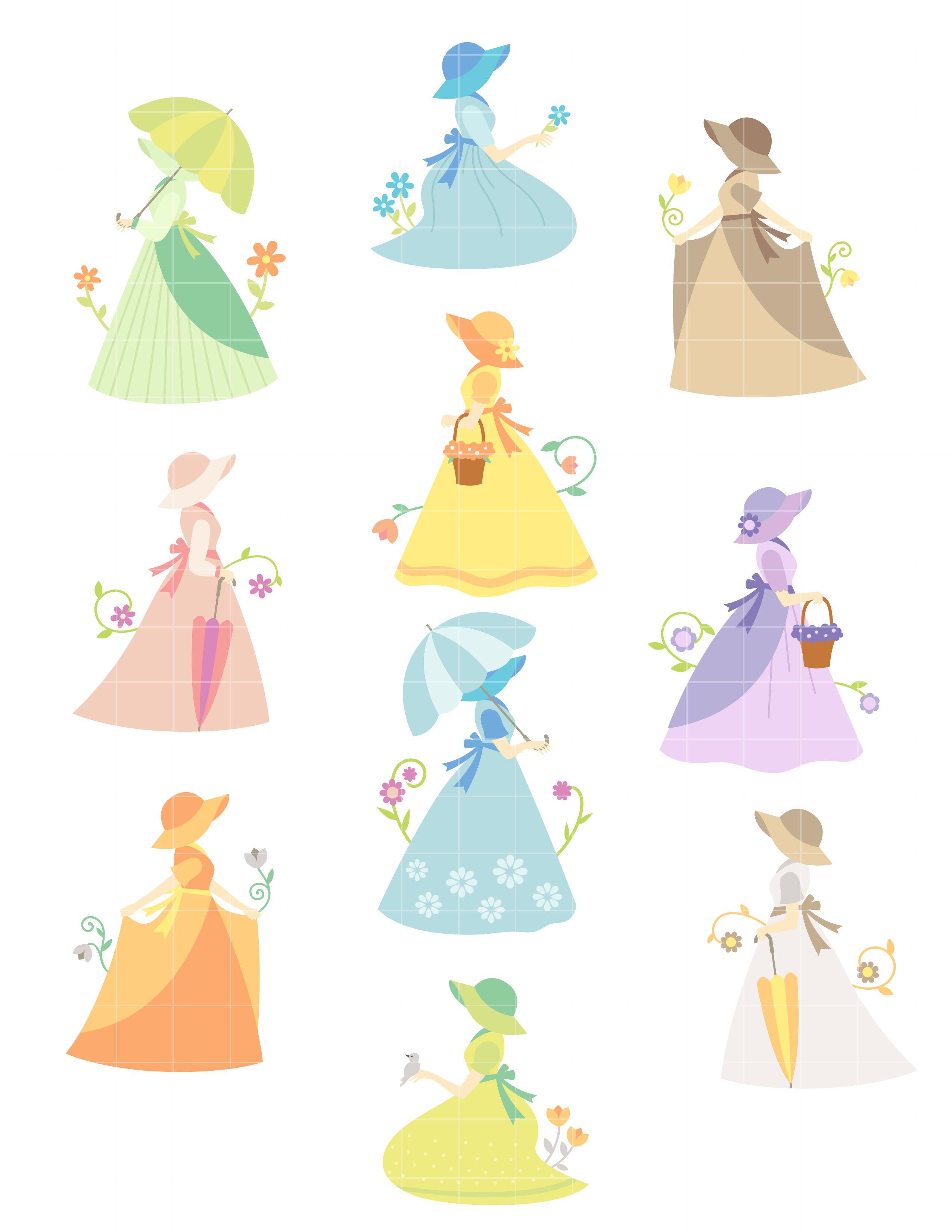 sue bonnet girls set semi exclusive clip art set for digitizing and rh pinterest com clipart for embroidery digitizing