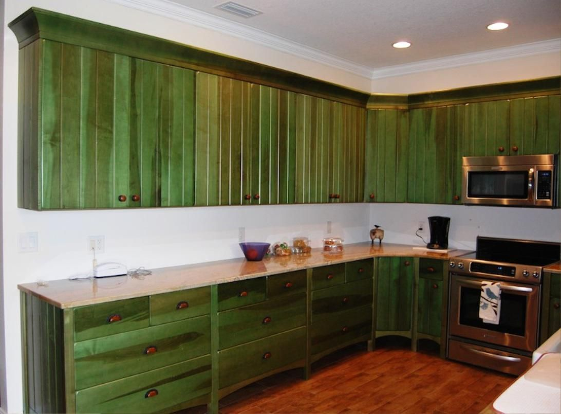 Green stain cabinets | Distressed kitchen cabinets ...