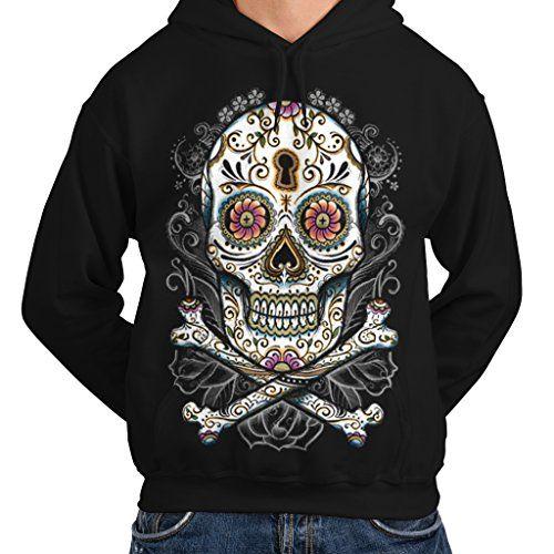 wellcoda Rose Metal Death Skull Mens Hoodie Skull Hooded Sweatshirt