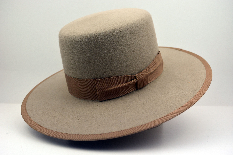 Bolero Hat The Nomad Tan Fur Felt Amish Crown Wide Brim Etsy Wide Brim Hat Men Hats For Men Bolero Hat