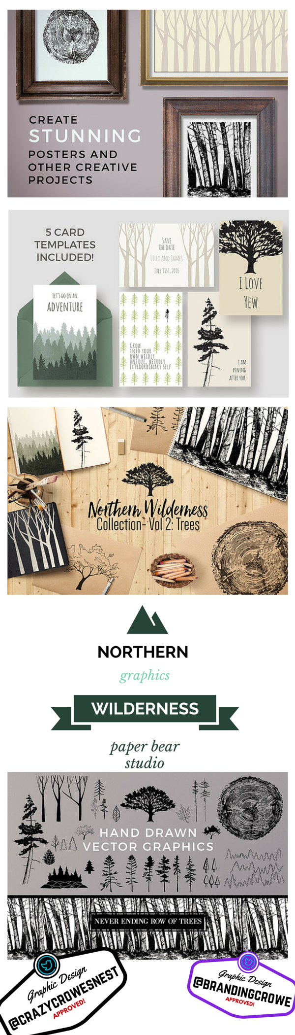 Awesome graphics northern wilderness theme card templates hand
