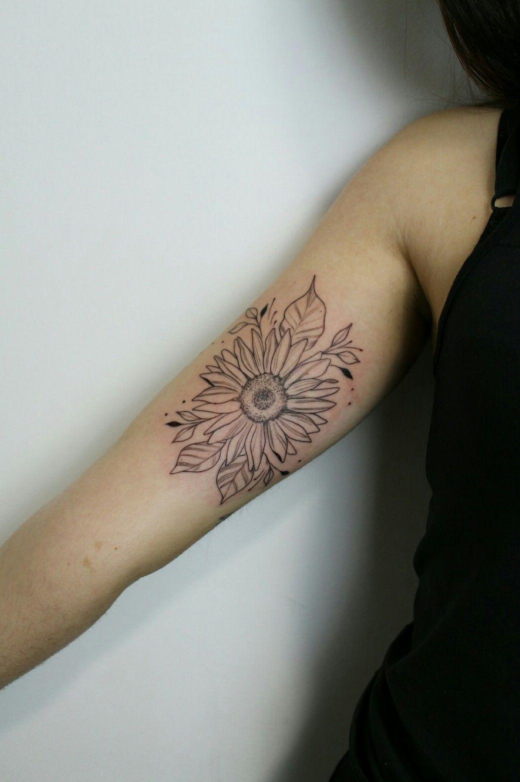 Mariloillustration Sunflower Inner Arm Tattoodo Underarm Tattoo Inner Arm Tattoos Sunflower Tattoos