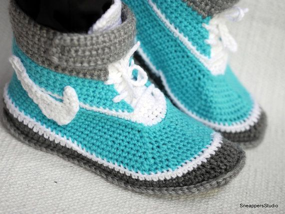Crochet Adult Nike Air inspired high tops Women by SneappersStudio