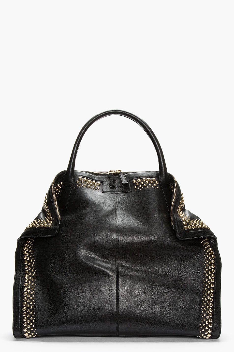 Alexander Mcqueen Black Leather Studded De Manta City Tote