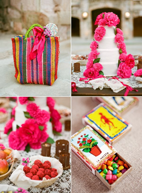 love this wedding especially the matchboxes filled with mexican candies with loteria cards glued to