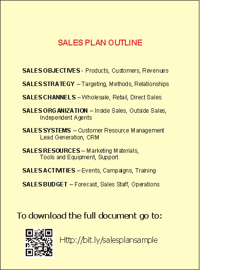 Sales Plan Outline Sample This image shows an outline of a sample ...
