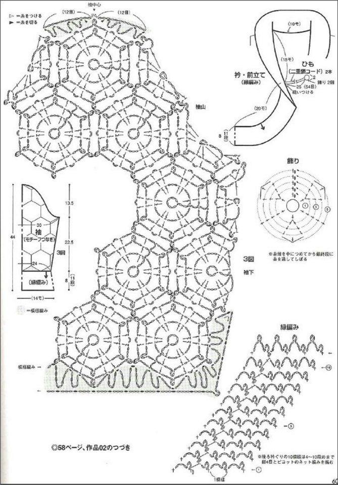 Bolero SLEEVES and COLLAR diagrams | Bolero häkeln stricken ...