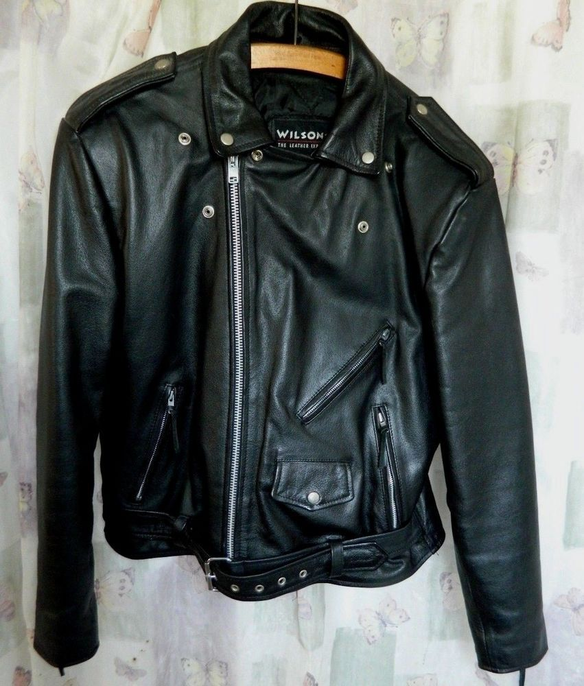 1980s Vintage Black Wilsons Leather Motorcycle Jacket
