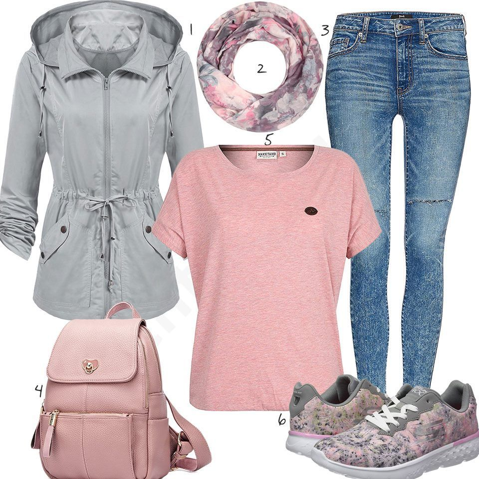 Grau Rosa Damenoutfit mit Shirt, Jeans und Sneakern (w0995