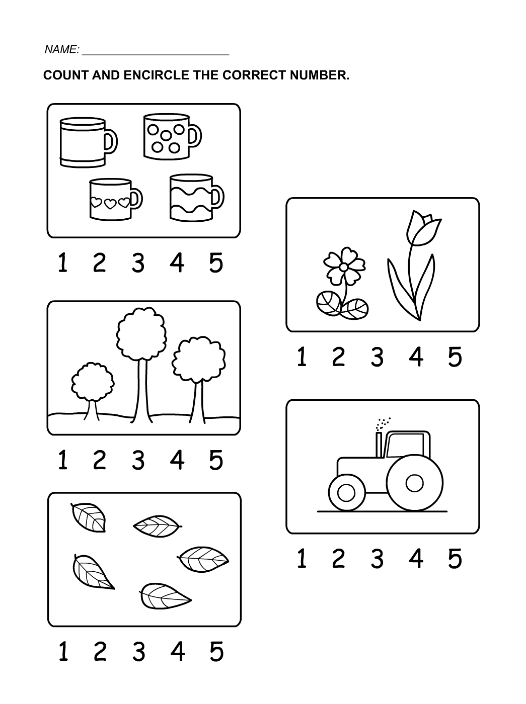 Numbers Counting 15 for Kids Activity Shelter – Number 1 Worksheets for Kindergarten