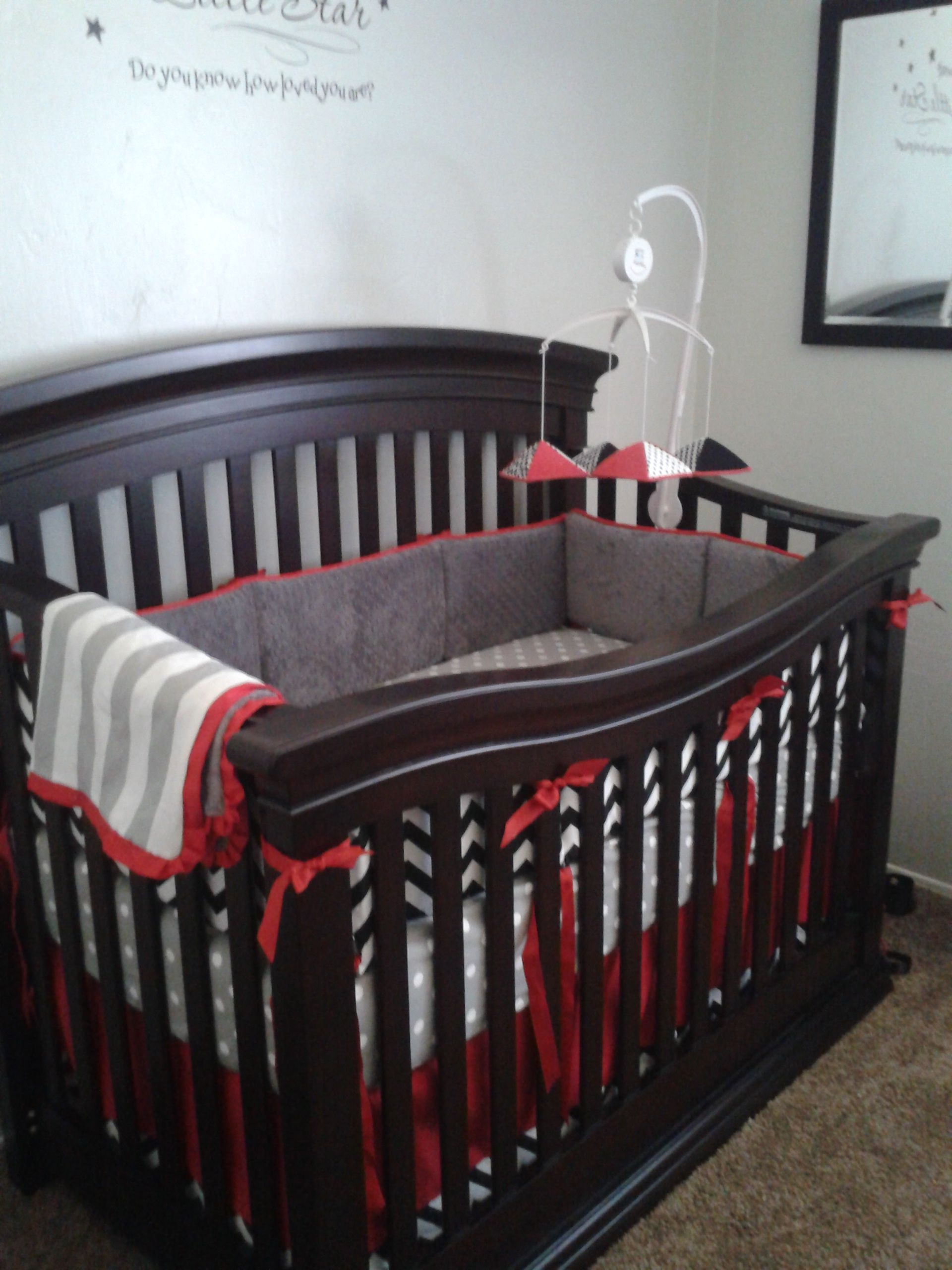 Best Red Trim And Crib Skirt With Grey And Black Custom Crib 400 x 300