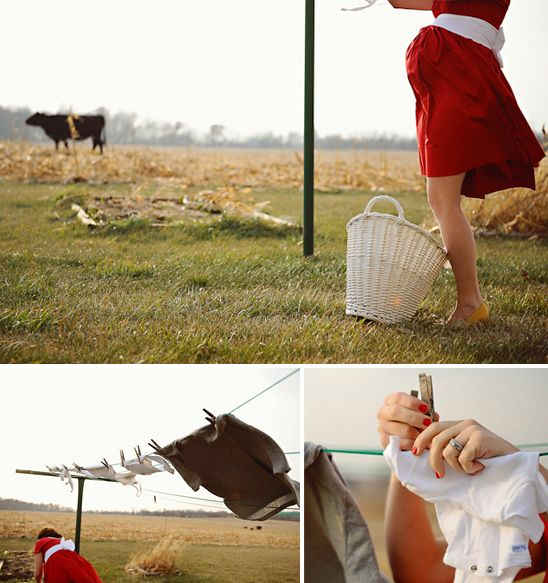 This 1950's inspired maternity photo shoot  (inspired by an old clothes line) is the most gorgeous maternity shoot that I've ever seen!