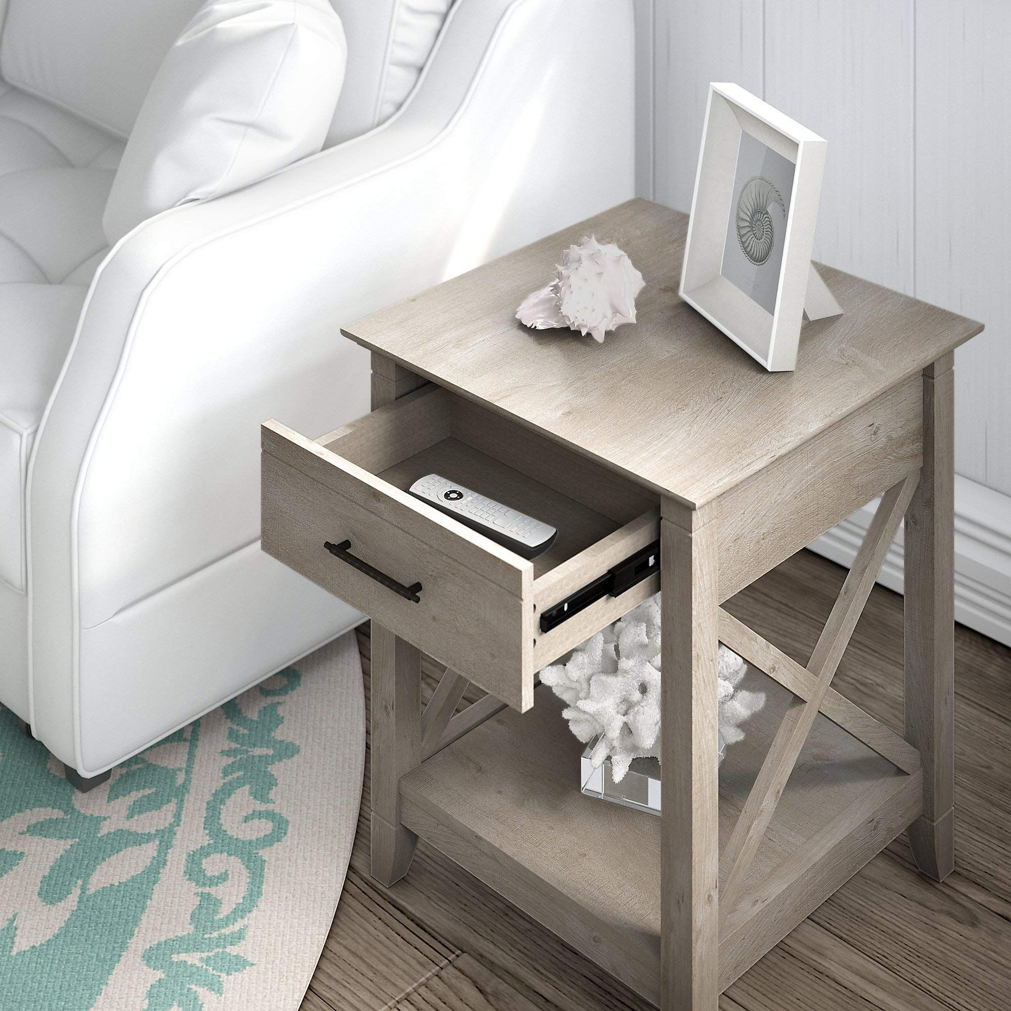 Bush Furniture Key West End Table With Storage Washed Gray Learn More By Visiting The Image Link This Is In 2020 End Tables With Storage Bush Furniture Furniture