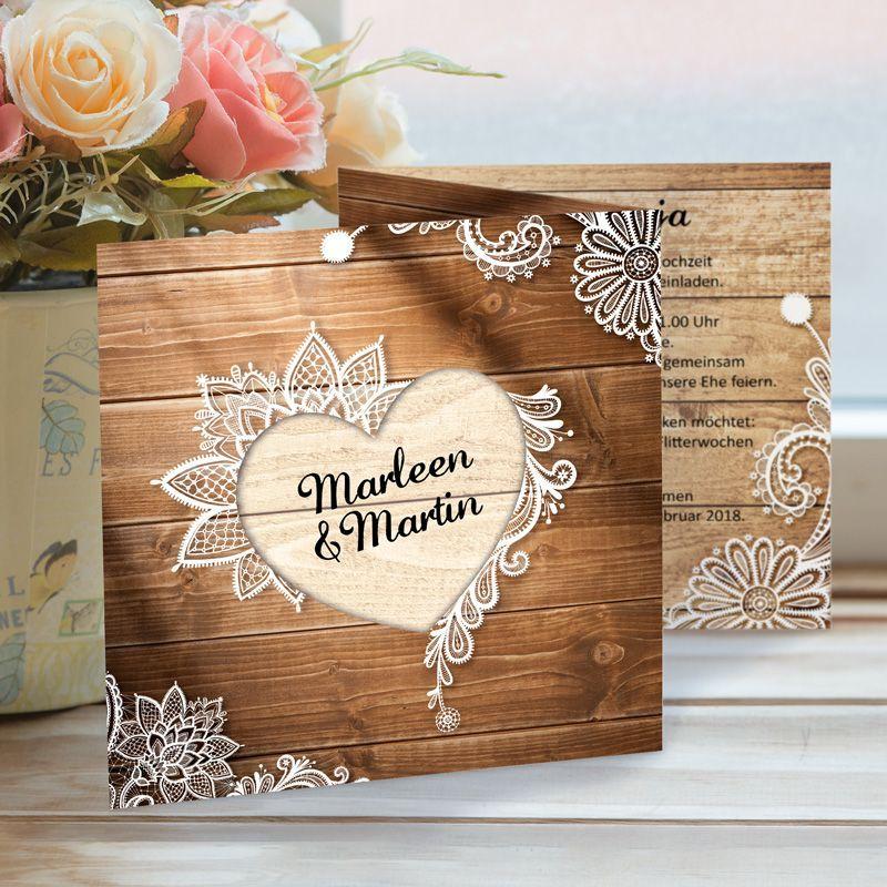 Die Hochzeitseinladung Wood Style Könnt Ihr Bei Meine Hochzeitsdeko Kaufen.  Der Rustikale Holzlook Mit