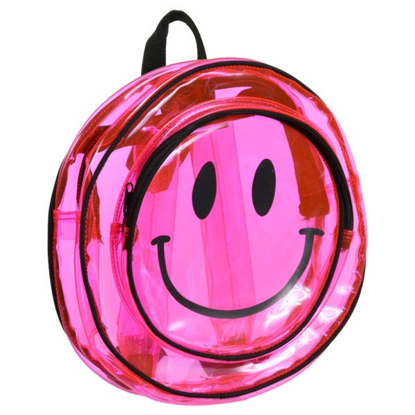 CLEAR PINK SMILEY BACKPACK (290 ILS) ❤ liked on Polyvore featuring bags, backpacks, accessories, pink, rucksack bag, crystal clear bags, knapsack bags, pink plastic bags and crystal clear plastic bags