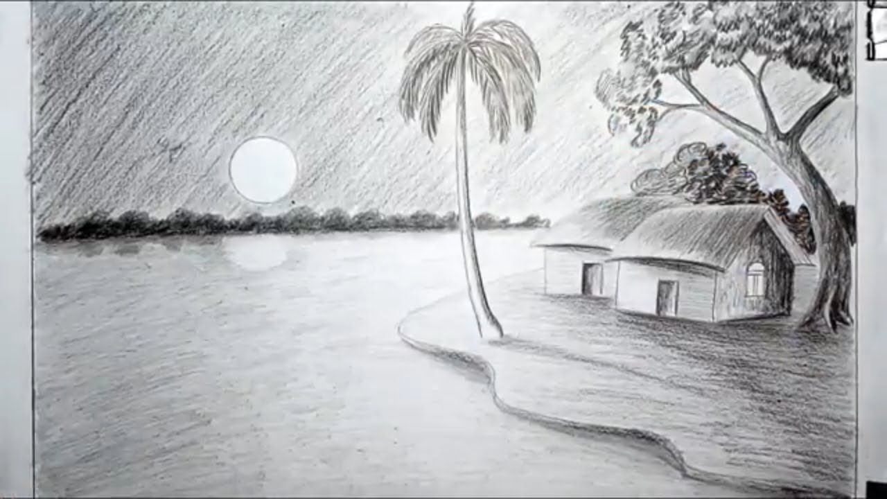 How To Draw A Moonlight Night Scenery With Pencil Step By Step Night Scenery Night Scene Scenery