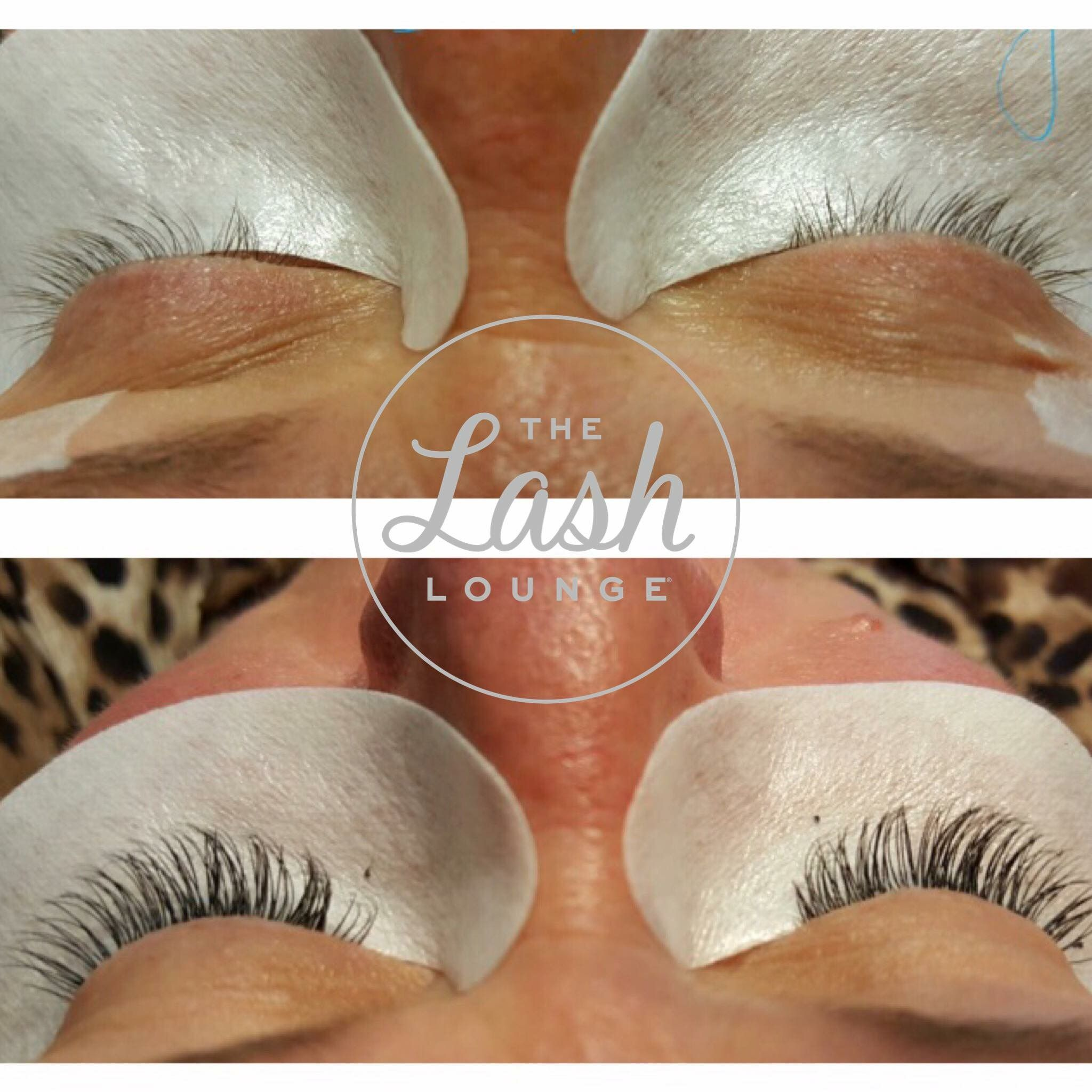 Before and after lash extensions from The Lash Lounge
