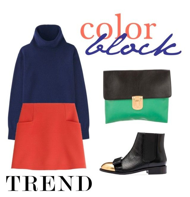 """colorblock trend"" by janesmiley ❤ liked on Polyvore featuring Uniqlo, Courrèges and Marni"