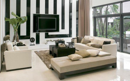 Modernes Wohnzimmer Gestalten Leicht Gemacht. Ideen Für Wohnwand In Schwarz  Weiß