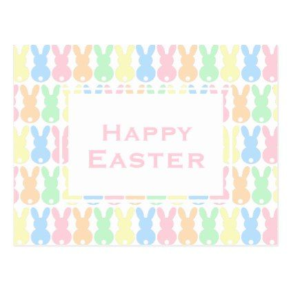 Happy Easter  Pastel Colors Easter Bunny Pattern Postcard  Pattern