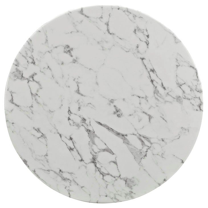 LexMod Lippa Artificial Marble Dining Table In White Girls - 36 round marble table top