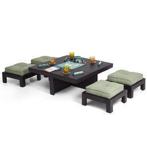 Kivaha Coffee Table Set Ebony Finish Table Coffee Table