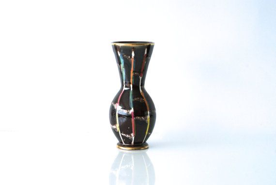 WEST GERMAN POTTERY Vase,1950s, Jasba 109/22, Drip Glaze