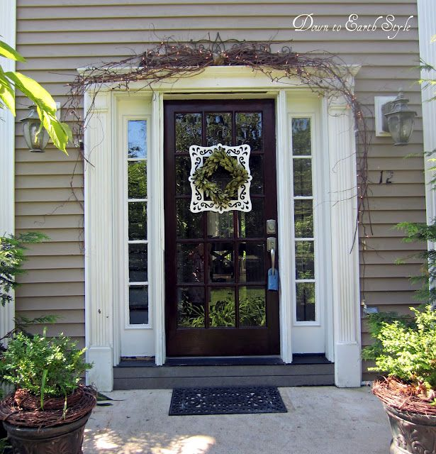 Love This Front Door With A Square Boxwood Wreath From Down To Earth Style:  {