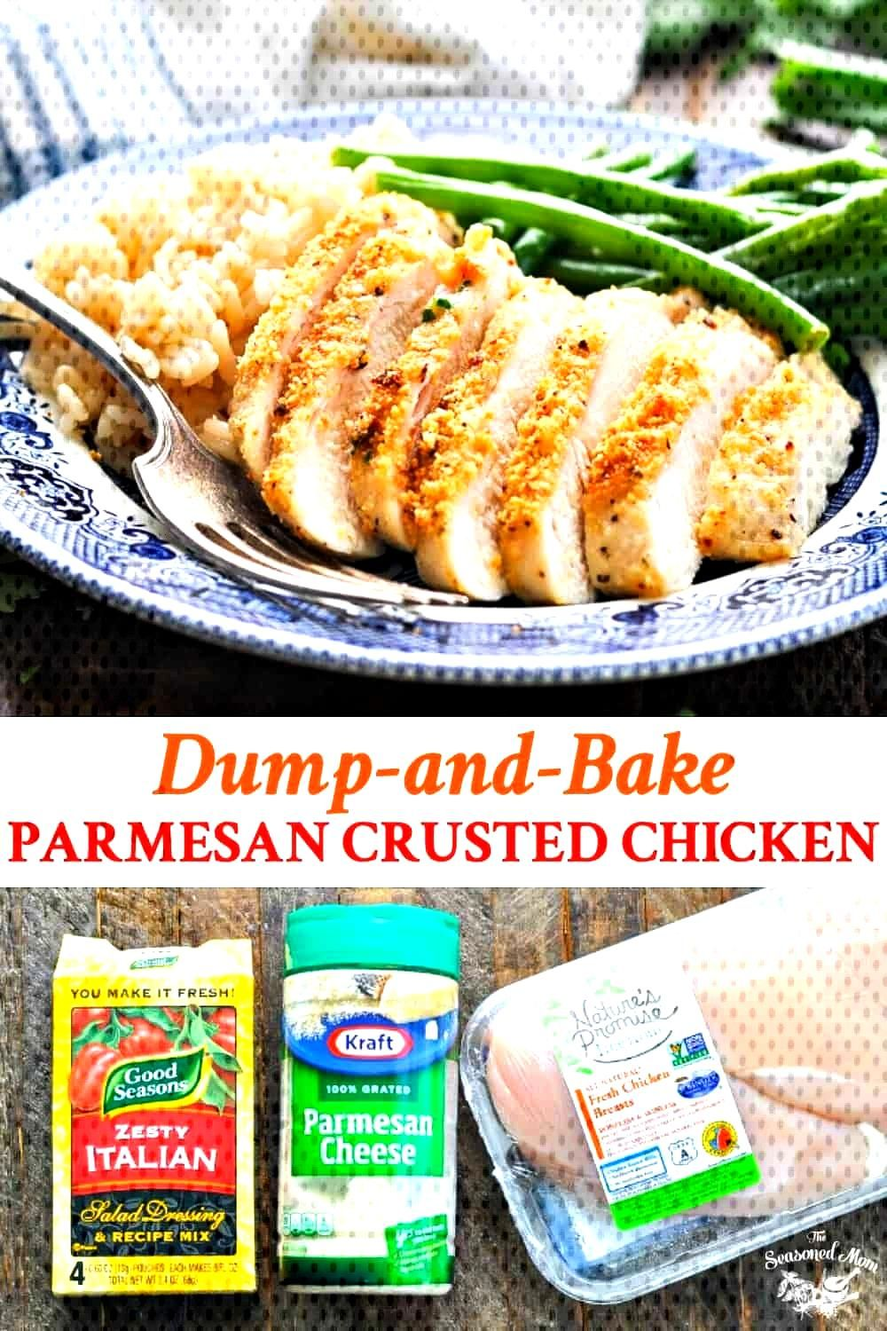 Parmesan Crusted Chicken {3 Ingredients!} This dump-and-bake Parmesan Crusted Chicken requires just