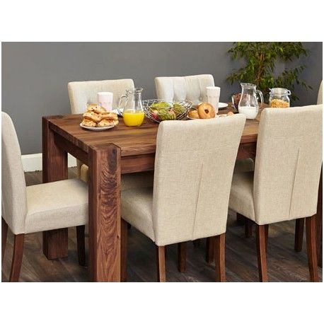 This Shiro Walnut Dining Table 4 To 6 Seater Has Chunky Legs Finish Off Is Ideal For The Kitchen Or Room And