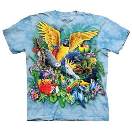 The Mountain Light Blue 100% Cotton Birds Of The Tropics T-Shirt (Size 3XL) NEW