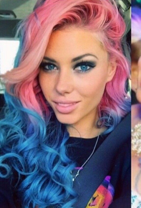 Pink And Blue Ombre Dyed Hair Dyed Hair Hair Styles Hair Color Pink