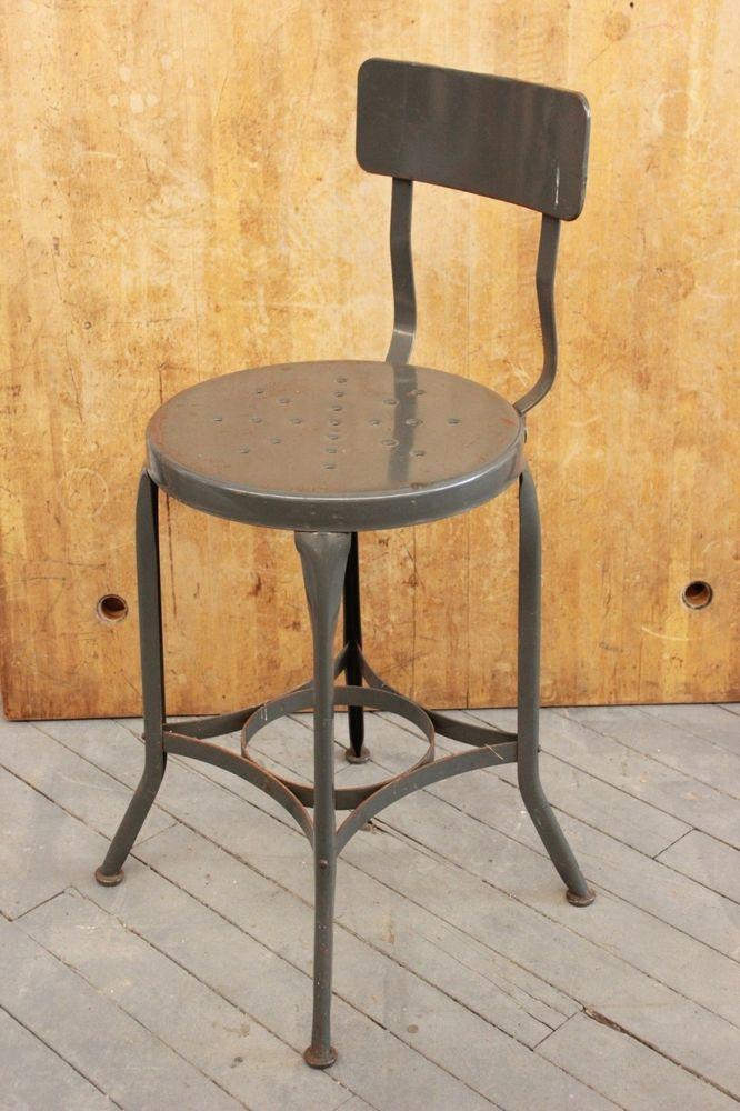 Vintage Industrial Toledo Uhl Draftsman Stool Machine Age