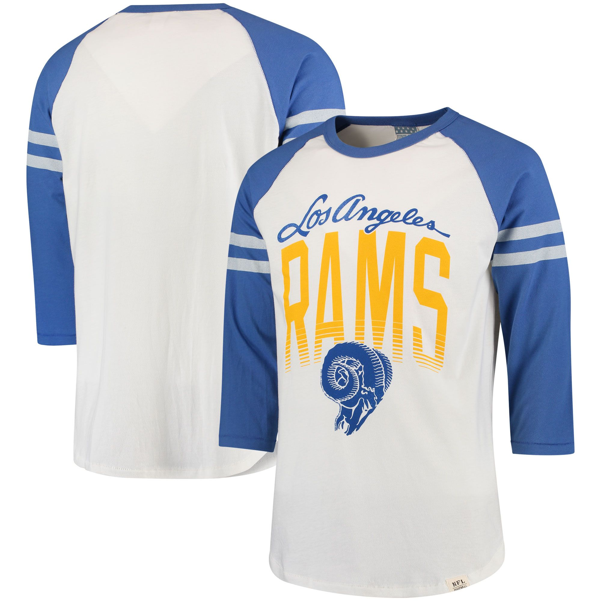 194d32cd NFL Los Angeles Rams Junk Food Retro 3/4-Sleeve Raglan T-Shirt | Los ...