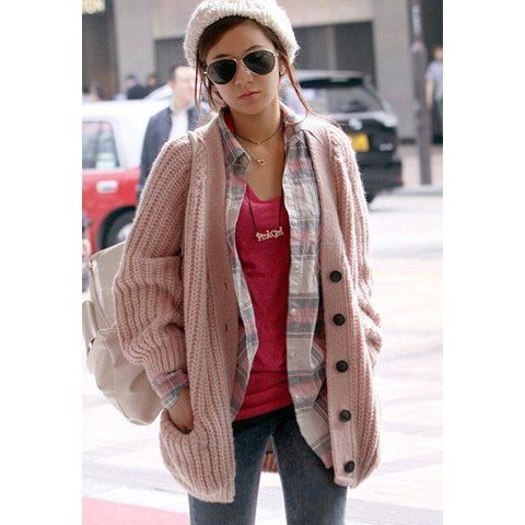 Casual Style V-Neck Long Sleeves Women's Heavy Knit Pink Cardigan ...