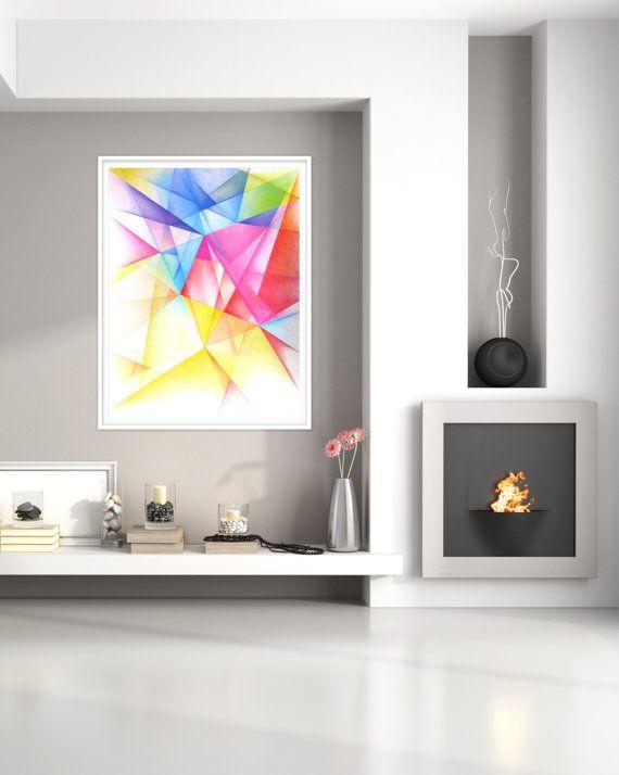 Large abstract original geometric art vibrant by coolstuffartshop also print golden colors wall rh pinterest