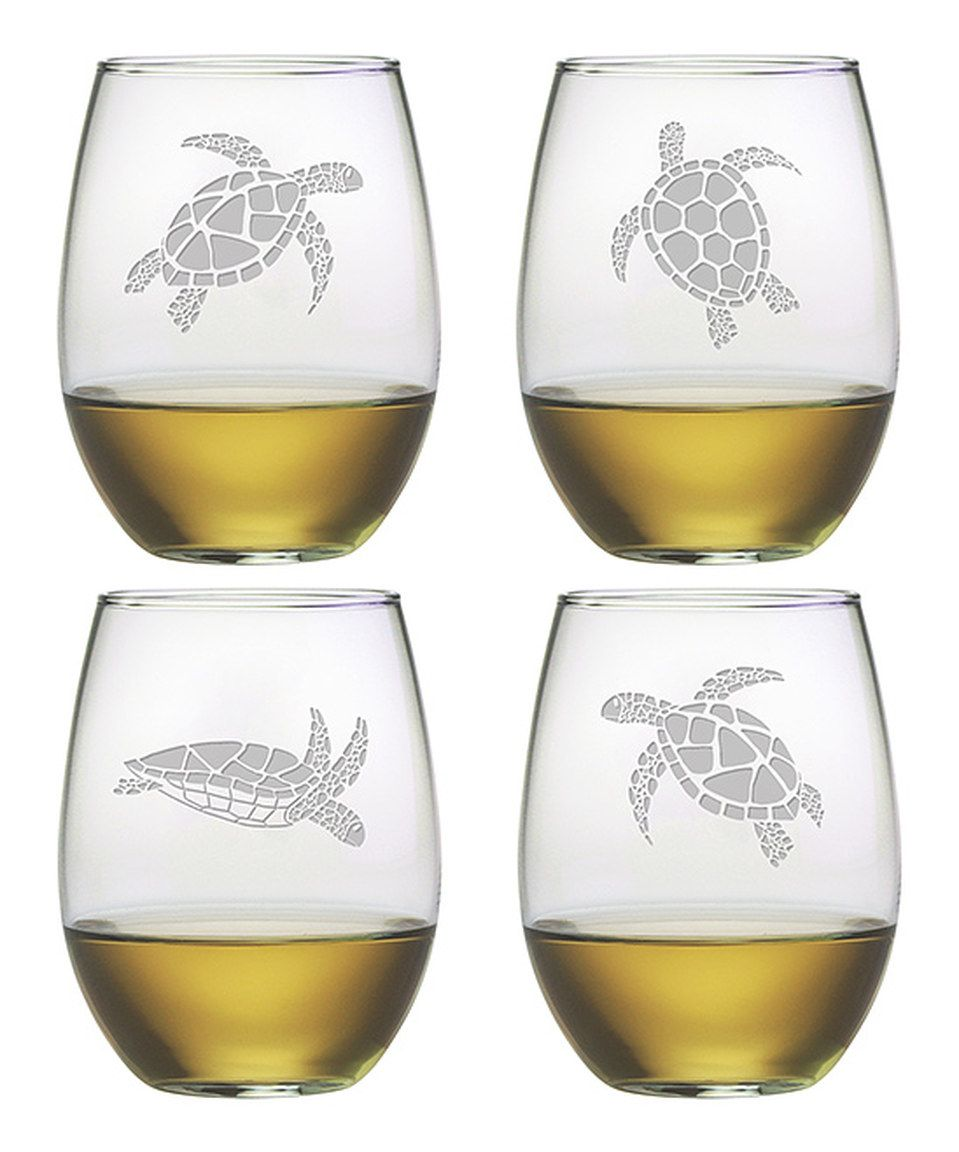 Love this Sea Turtle Stemless Glass - Set of Four by Susquehanna Glass on #zulily! #zulilyfinds